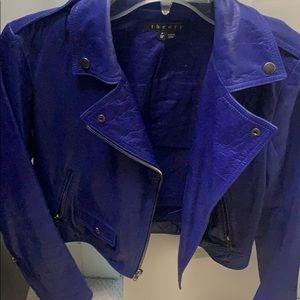 Theory purple/blue leather moto jacket